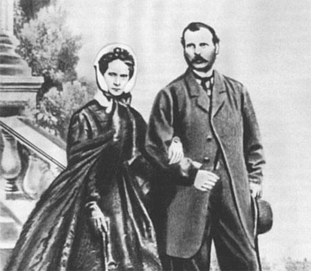 Царь Александр II (1818-1881) и его супруга царица Мария Александровна (1824-1880),